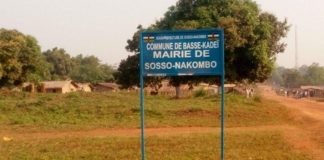 pancarte de la Mairie de Sosso-Nakombo à l'ouest de la Centrafrique.