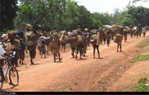 marche en groupe de la population fuyant la guerre en Centrafrique
