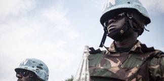 Une patrouille des soldats du contingent tanzanien à gamboula le 7 juillet 2018. CopyrightAFP..