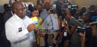 Félix Tshisekedi après le vote ce dimanche 30 décembre 2018 au centre au centre du collège Bonsomi à N'djili