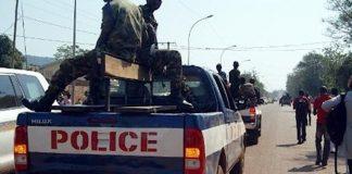 Patrouille des policiers de la compagnie nattionale de sécurité (CNS) à Bangui.
