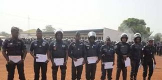 Les Policiers stagiaires formés par la Minusca à Bangui du 19 novembre au 19 décembre 2018. Photo : Anselme Mbata. CopyrightCNC.