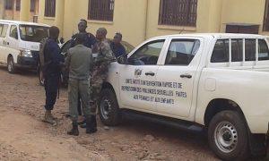 Patrouille des forces de l'ordre à Bangui lors du combat du PK5 en avril dernier. CopyrightCNC