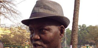 Monsieur Cyriaque Azouassa, Coordonnateur de l'APPAP interviewé par les journalistes lors de la manifestation anti-occidentale à Bangui. Copyright2019CNC.