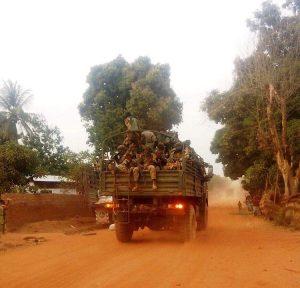 entrée des soldats FACA à Bocaranga le 7 janvier 2019.
