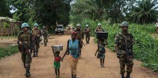 Patrouille des soldats FACA et de la Minusca à Bambari ce jeudi 10 janvier 2019.