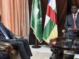 De gauche à droite, le Président de la Commission de l'Union africaine le tchadien Moussa Faki Mahamat et le Président Faustin Archange Touadera à Bangui en septembre 2018. CopyrightDR