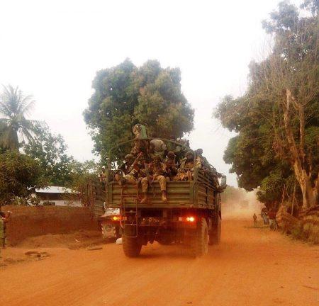 Arrivée des soldats FACA dans la ville de Bocaranga dans l'Ouham-Pendé en janvier 2019. CopyrightCNC.