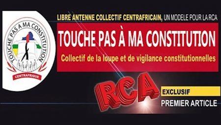 Banière du collectif touche pas à ma constitution en République centrafricaine