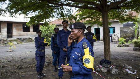 Des policiers à Goma-Nord-Kivu, DRC-29 décembre 2018