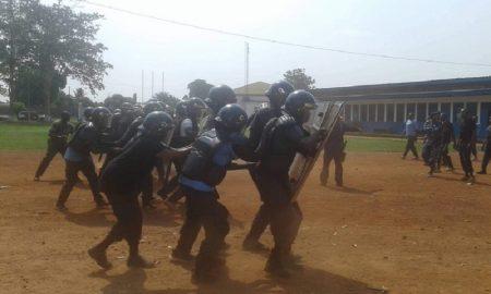 Des policiers en formation à l'école nationale de la police au PK12 le 19 décembre 2018. Crédit photo : Anselme Mbata/CNC.