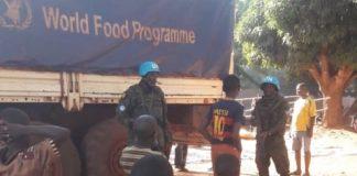 un camion du programme alimentaire à Bria en République centrafricaine