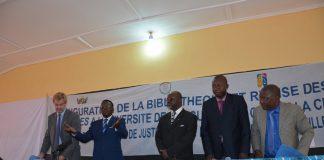 Cérémonie de l'inauguration de la bibliothèque de la faculté des sciences juridiques et politique de l'Université de Bangui le 15 juillet 2019. Crédit photo : Minusca.