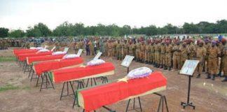 Funérailles de sept membres des forces de sécurité tués dans l'est du Burkina Faso en août 2018