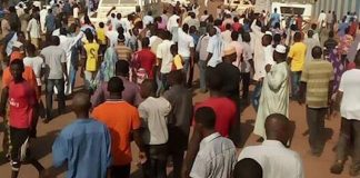 marche de colère des habitants du quartier PK 5 après l'assaut des forces de la Minusca contre les miliciens d'autodéfense dans le troisième. Bangui, cnc.