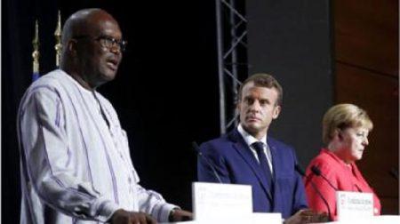 Roch Marc Christian Kaboré - Emmanuel Macron et Angela Merkel au sommet du G7
