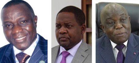 De gauche à droite le député jean-michel-mandaba-le-premier-ministre-firmin-ngrébada-et-le-ministre-des-mines-léopold-mboli-fatrane