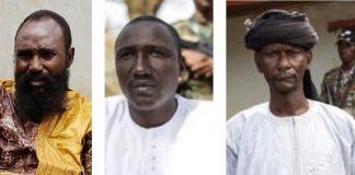 Les chefs rebelles Mahamat Al Khatim à gauche, Ali Darassa au milieu et Abbas Siddiki à droite.