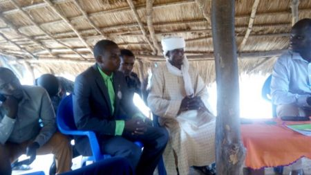 le numéro 2 de l'UPC Ali Issaka lors de la visite du chef de bureau de la Minusca de Bambari le 3 août 2019. Crédit photo : Bertrand Yékoua/CNC
