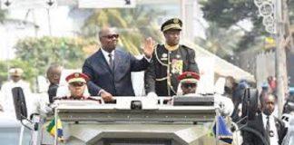 Le Président Ali Bongo lors du défilé militaire de la fête nationale du Gabon le 17 août 2019 à Libréville.