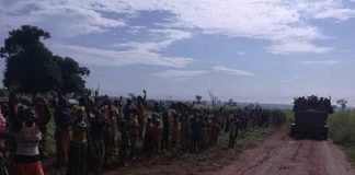 Entrée des soldats FACA à Bria par la route secondaire le 24 septembre 2019.