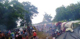 Les déplacées dans un camp de fortune près de la base militaire de la Minusca à Birao. CNC