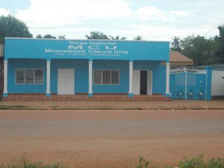 Siège du parti au pouvoir MCU au quartier Malimaka dans le cinquième arrondissement de Bangui, le 10 juillet 2019. Crédit photo : Corbeaunews-Centrafrique.