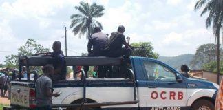 Un pickup de l'OCRB antigang devant l'école nationale de police au PK10 le 5 août 2019. Crédit photo : Mickael Kossi / CNC.