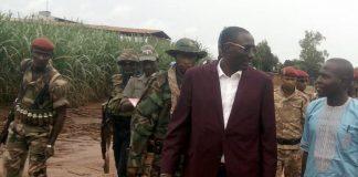 Arrivée du chef rebelle Ali Darassa le 21 août 2019 au village Ngakobo pour rencontrer le Préfet de la Ouaka. Crédit photo : Bertrand Yékoua, CNC.