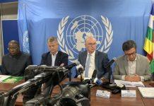 Conférence de presse de la mission de haut niveau de l'Union européenne, l,Union africaine et l'ONU en République centrafricaine le 6 octobre 2019. CNC.