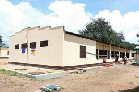 Vue d'ensemble du nouveau dortoire des FACA à Bouar, en République centrafricaine. Crédit photo : Cyrille Jefferson Yapendé / CNC