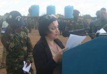 Madame l'Ambassadrice de l'Union européenne en Centrafrique Samuela Isopi le 16 octobre 2019 à Bouar. Crédit photo : Cyrille Jefferson Yapendé /CNC