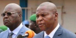 Le chef de l'État Faustin Archange Touadera et son ex-directeur de campagne et chef du parti présidentiel MCU Simplice Mathieu Sarandji.