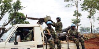 Une patrouille des forces de la Minusca à Bria, dans la préfecture de Haute-Koto. Crédit photo : Moïse Banafio/CNC.
