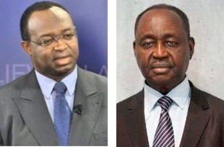 Le Président du parti URCA Anicet Georges Dologuelé à gauche et l'ancien Président François Bozizé à droite. Image combinée par CNC le 8 décembre 2019.