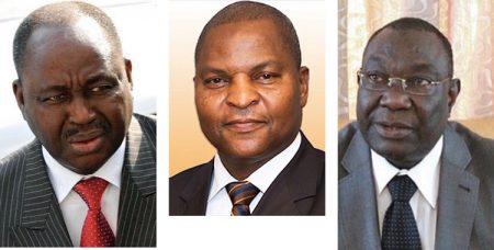 L'ancien Président François Bozizé (2003-2013) à gauche, Président Touadera (depuis 2016) au milieu et Michel Djotodia (2013-2014) à droite. Montage : Corbeaunews-centrafrique, le 28 décembre 2019.