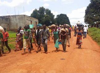 Image d'illustration du Déplacement des déplacés du camp des déplacés du PK3 sécurisé par la Minusca, en février 2019. Crédit photo: Moïse Banafio / CNC.