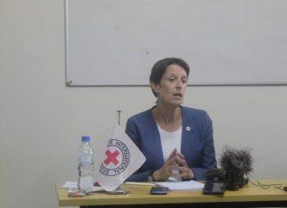 Madame Valérie Petitpierre, la Cheffe de délégation du CICR en Centrafruque. Créditi photo : Cyrille Yapendé / CNC