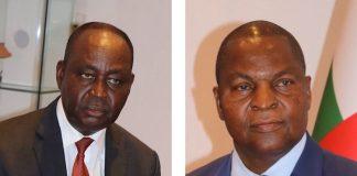 bozizé à gauche et touadera à droite photos du 21 janvier au palais combinées par CNC le 21 janvier 2020