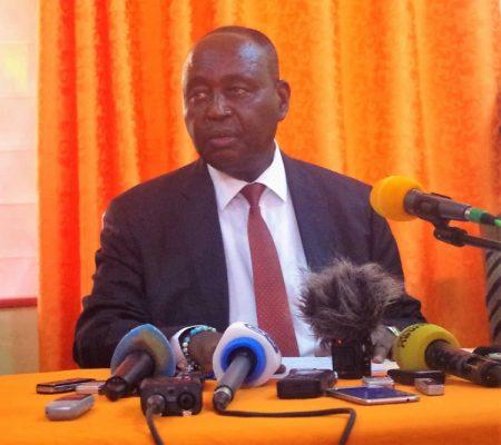 L'ex-Président de la République François Bozizé lors de sa première conférence de presse le 27 janvier 2020 depuis son retour d'exil. Crédit photo : Jefferson Cyrille Yapendé / CNC.