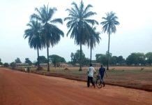 Une rue de Bria, dans la préfecture de Haute-Kotto, au centre-nord de la République centrafricaine. Crédit photo : Moïse Banafio / Corbeaunews