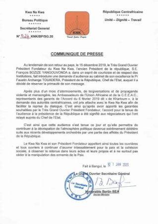 communiqué du knk après l'audience de bozizé à la présidence de la république le 21 janvier 2020