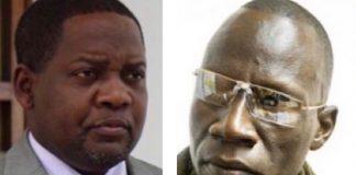 Le premier ministre centrafricain Firmin Ngrébada, à gauche, et le chef rebelle, patron du FPRC, le général Noureddine Adan, à droite. Photos combinée par CNC le 20 janvier 2020.
