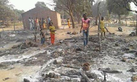 incendie camp des déplacés de Lapago à Bambari le 3 janvier 2020 par cnc