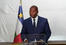Son Excellence Professeur Faustin Archange Touadera, Président de la République Centrafricaine, lors de son allocution des voeux à la nation mardi 31 décembre 2019 Bangui. Photo: Présidence RCA.