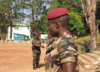 le chef d'État major des forces armées centrafrcaines (FACA), le général zéphirin mamadou, le mardi 24 décembre 2019 au camp Kassaï. Crédit photo : CNC.