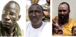 Les trois Chefs rebelles de l'ex-coalition Seleka, de gauche à droite Noureddine Adam du FPRC, Ali Darassa de l'UPC et Mahamat A-Khatim du MPC. Photo montage du CNC.