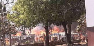 site des déplacés de l'église Élime dd'Alindao incendié dans le combat opposant les UPC et les FACA le 9 janvier 2020 par cnc