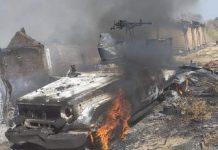 Combats de Birao, un véhicule des rebelles du FPRC ciblé par les forces de la Minusca a pris feu le 16 février 2020 par corbeaunews