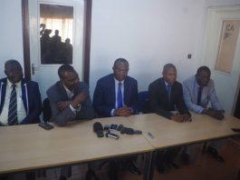 Les leaders de l'opposition démocratique d'unis, lors de la signature de la convention de la création de plate-forme COD2020 à Bangui le 11 février 2020.